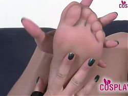 Cowgirl debooting and foot massage in tan pantyhose