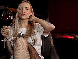 Sexy Blonde in Mesh Tights Gives Footjob To Big Dick on Date