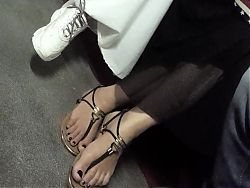 Her sexy feet, toes in sandals