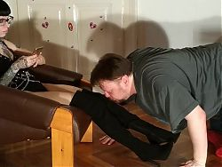 Boot and sweaty sock sniffing foot slave, HD