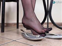 Leggy brunette in pantyhose perfect ballet flats shoeplay